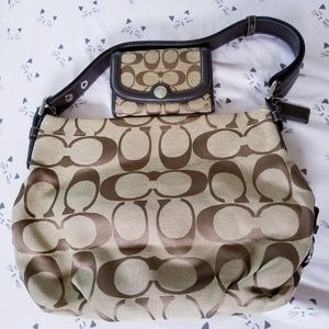 Coach Brown Signature Hobo and Wallet ECU